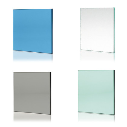 SSI True frameless, 10mm frameless toughened colour glass samples.