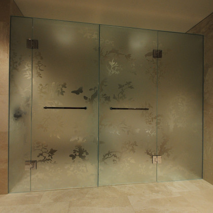 An Acid Etched (frosted) Glass WC And Shower Combination Enclosure And Acid  Etched Tree
