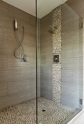 Wide SSI Walk In Frameless Shower Enclosure With Heavy Duty Wall Brackets,  Installed In