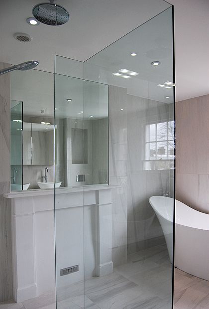SSI UV bonded Walk-In shower enclosure, 3 sided, installed in a wet room bathroom in London