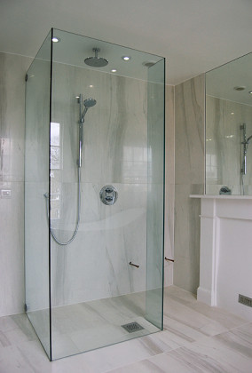 SSI Walk-In shower enclosure, 3 sided installed in a luxury wet room bathroom in London