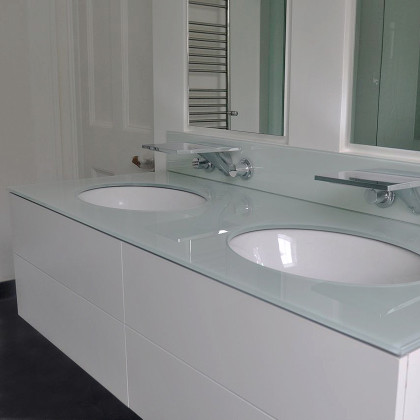 SSI, Back painted, colour coated glass worktop in a Luxury London bathroom