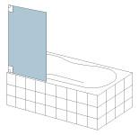 S&E Glass Design Type 15 Frameless bath screen, line drawing.