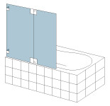 S&E Glass Design Type 16 Frameless bath screen, line drawing.
