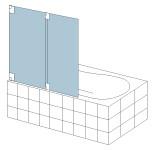 S&E Glass Design Type 17 Frameless bi-fold bath screen, line drawing.