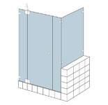 S&E Glass Design Type B3 Frameless corner shower enclosure with dwarf return at side of bath, line drawing.