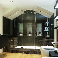 A modern, luxury wet room loft bathroom in London with an SSI frameless enclosure to the ceiling with roof pitch cuts and corner cuts without using channels.