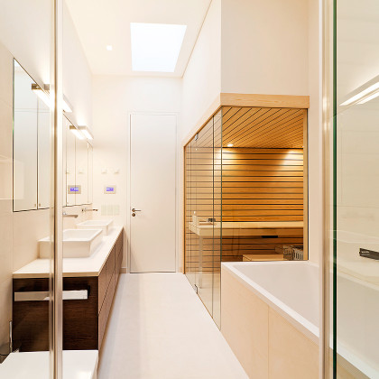 SSI Frameless sauna enclosure, installed in an Architect designed, luxury bathroom in London