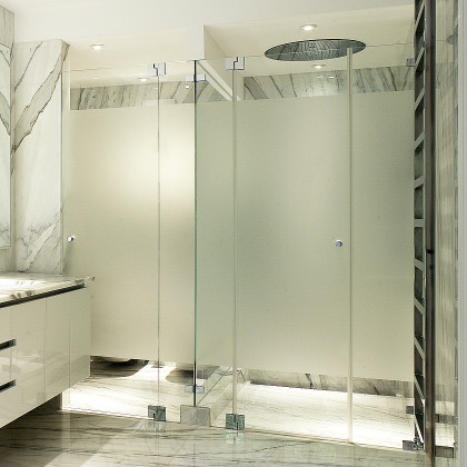 SSI Frameless Shower Enclosure with Frosted Doors for Modesty, luxury wet room bathroom London